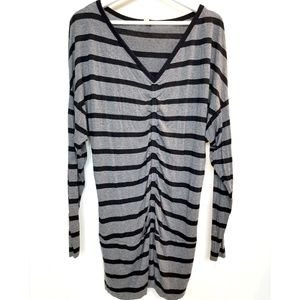 Anthropologie Striped Ruched Front Tunic